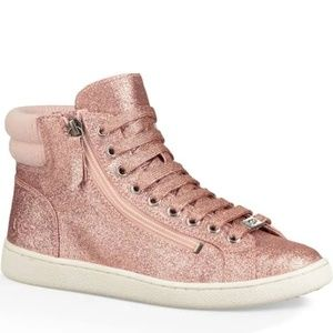 """UGG """"Olive"""" Pink Glitter High Top Sneakers. Sz 8."""